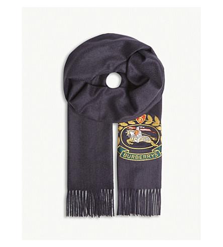 BURBERRY Logo crest cashmere scarf (Navy