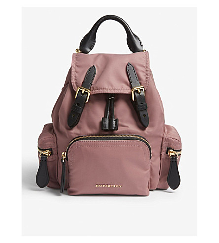 BURBERRY Shell and leather backpack (Mauve+pink