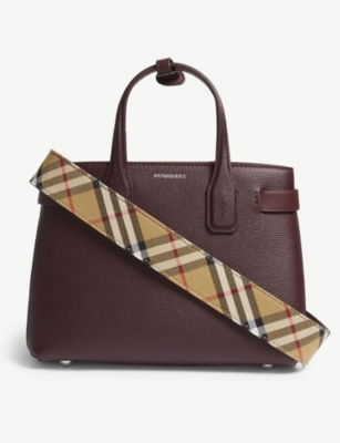 Banner small grained leather tote(6893905)