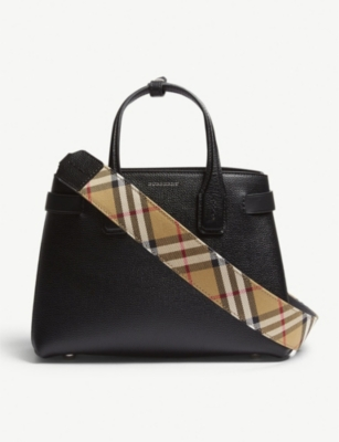 Banner small grained leather tote(6893895)