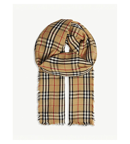 07648f07357 ... official burberry vintage check large cashmere scarf antiqueyellow  350c7 08b01