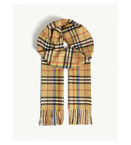 BURBERRY House Check and rainbow silk scarf (Antique+yellow