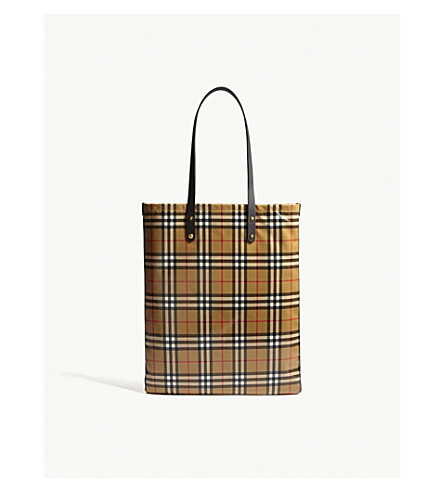BURBERRY Coated canvas check large shopper (Black