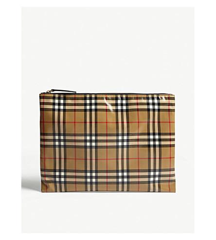 BURBERRY Vintage check large pouch (Black