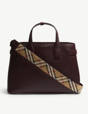 Banner medium grained leather tote(6893901)