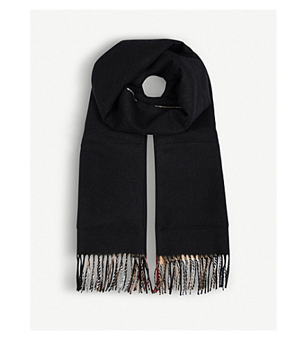 BURBERRY House check cashmere and wool scarf (Black