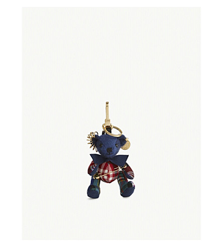 BURBERRY Thomas Bear punk keyring (Cadet+blue