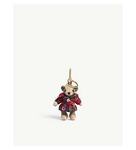 BURBERRY Tartan Thomas Bear cashmere keyring (Parade+red