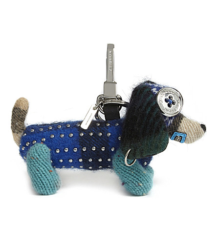 BURBERRY Tilly the Sausage Dog cashmere bag charm (Multi
