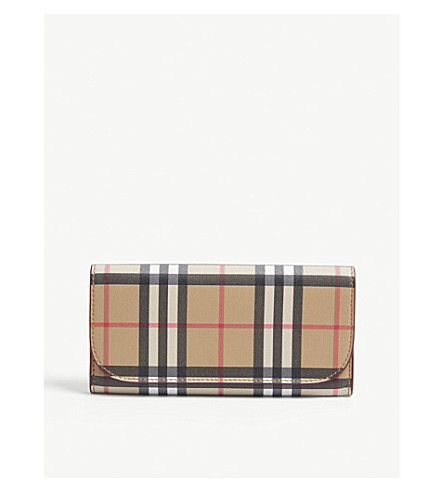 1397040658ec ... BURBERRY Heron leather check continental wallet (Crimson. PreviousNext