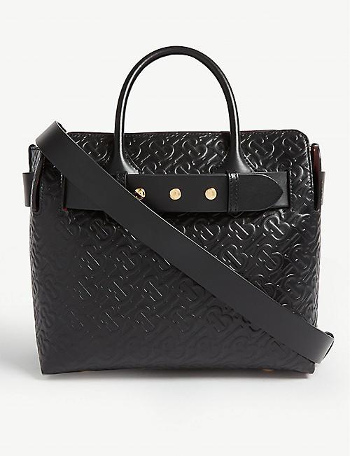 ff2b89e056ae BURBERRY Embossed logo leather shoulder bag