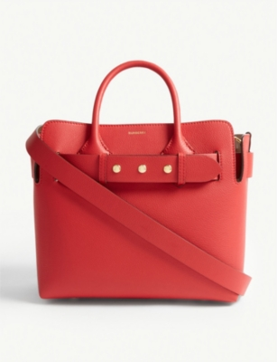 Belted small leather tote bag(7777608)