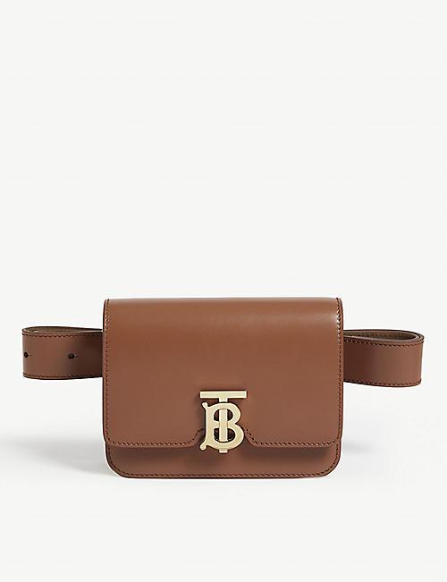 f7ac9eb97fa2 BURBERRY TB logo leather belt bag