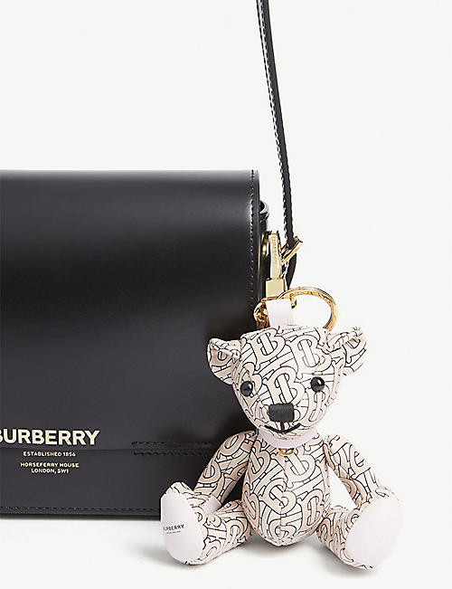BURBERRY Thomas Bear monogram leather keychain
