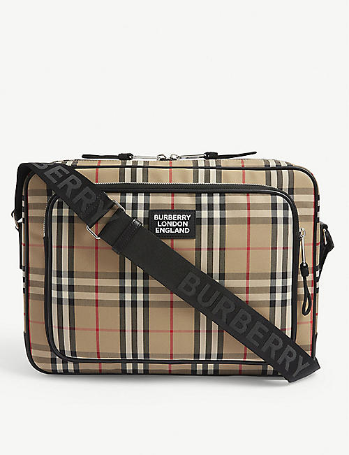 BURBERRY Check print messenger bag