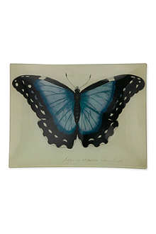 JOHN DERIAN Blue Papilio Erector rectangular tray