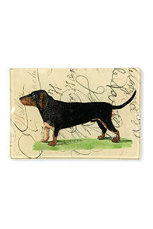 JOHN DERIAN Dachshund With Script tiny rectangular tray