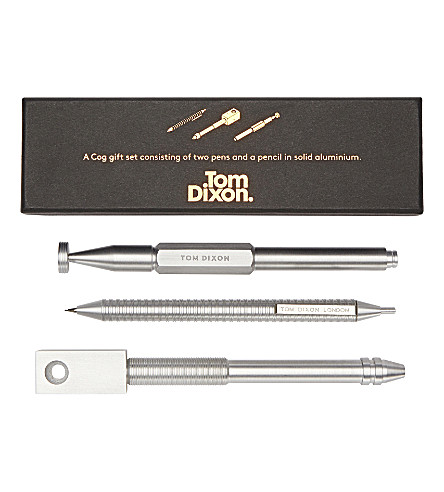 TOM DIXON Cog pen gift set aluminium