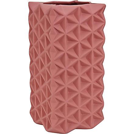 TOM DIXON Tall rose pink grid vase