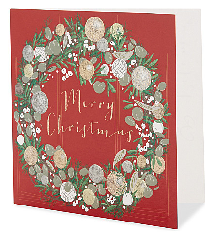 BELLY BUTTON Wreath Christmas card pack of six