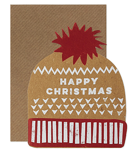 CARD Hat shaped christmas cards set of six