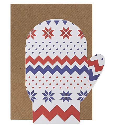 Mitten shaped christmas cards set of six
