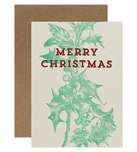 CARD Holly christmas cards set of six