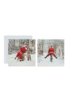 THE GREAT BRITISH CARD COMPANY Playful Santa cards pack of 12