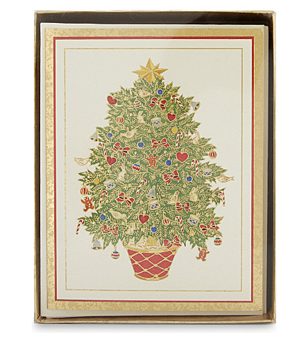 BOXED CARDS Fir Tree foil-embossed Christmas cards box of ten