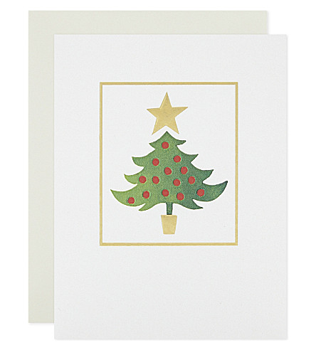BOXED CARDS Foil-embossed tree Christmas cards 10-pack