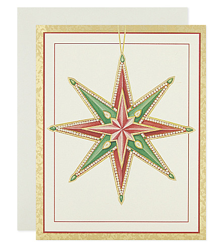 BOXED CARDS Foil-embossed star mini Christmas cards 10-pack