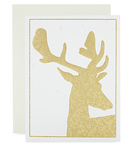 BOXED CARDS Deer foil-embossed Christmas cards 10-pack