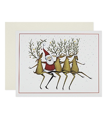 BOXED CARDS Santa and reindeer CanCan Christmas card 10-pack
