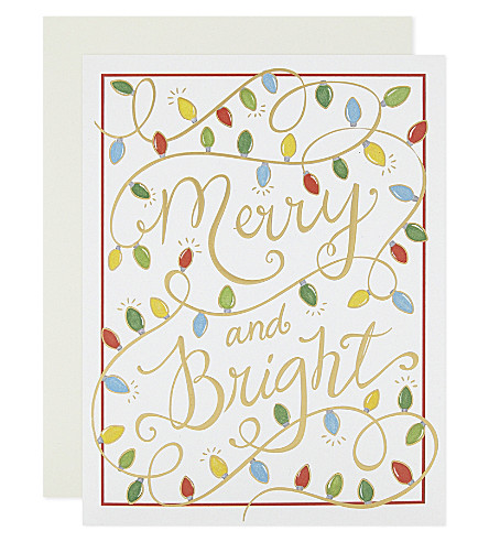 BOXED CARDS Christmas lights foil-embossed cards 10-pack