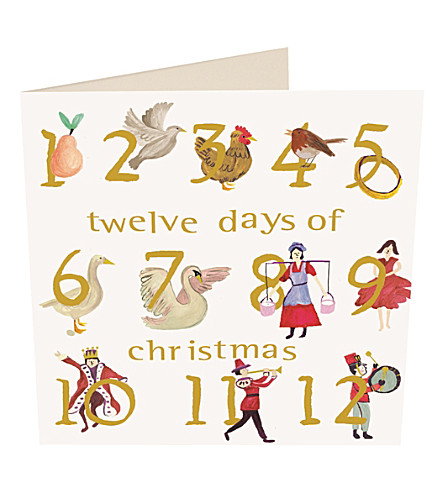 CARD Twelve days of christmas Christmas cards pack of five