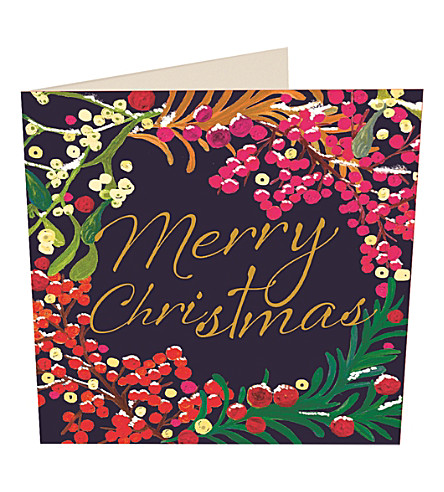 CARD Festive wreath Christmas cards pack of five