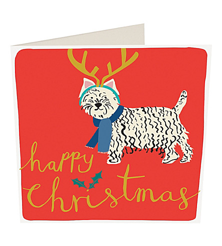 CARD Modern calligraphy happydog Christmas cards pack of five