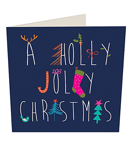 CARD Jolly holly Christmas cards pack of five
