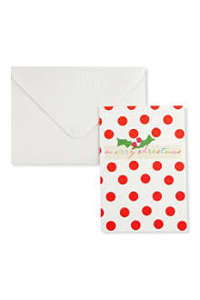 CHRISTMAS Merry Christmas polka dot cards pack of five