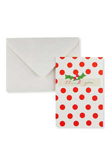 CHRISTMAS Christmas Thank You cards pack of five