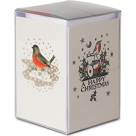 CHRISTMAS Box of 20 V&A Retro Robins Christmas cards