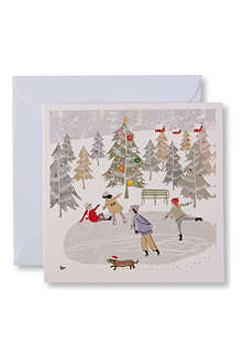 CHRISTMAS Skating on Christmas Day set of 10 Christmas cards