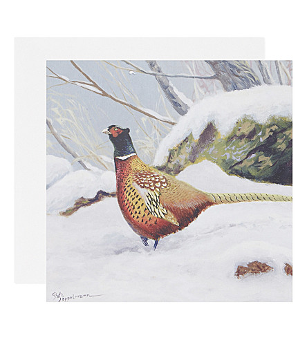 BOXED CARDS Cock Pheasant in the Snow christmas cards set of five