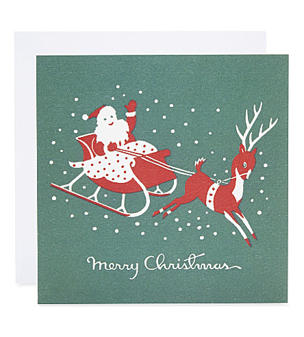 MUSEUMS + GALLERIES Santa sleight print Christmas cards set of 8