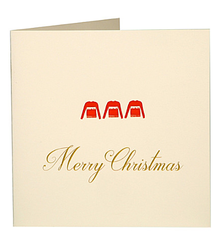 BOXED CARDS Red jumpers Christmas cards pack of five