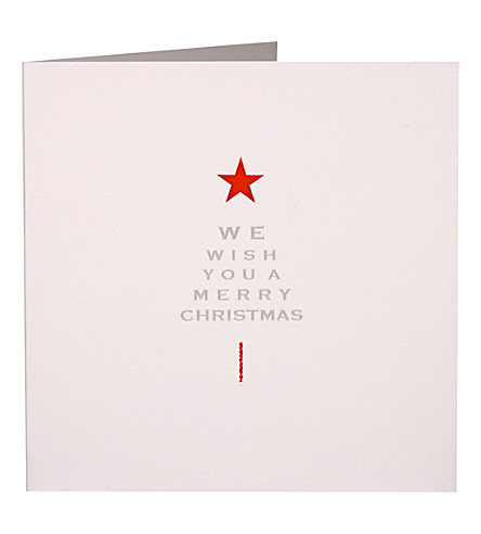 BOXED CARDS Red star tree Christmas cards pack of ten