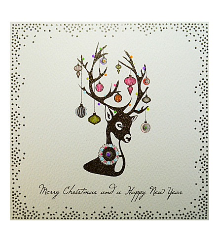 FIVE DOLLAR SHAKE Glitsy bauble stag Christmas cards pack of six