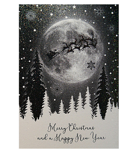 FIVE DOLLAR SHAKE Moon and sleigh Christmas cards pack of six