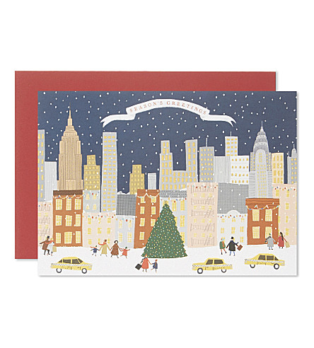 CARD New York paper christmas cards set of five
