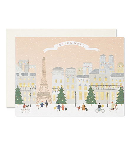 CARD Paris paper christmas cards set of five